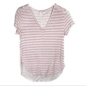 T.La ANTHROPOLOGIE Striped Short Sleeve Tee V-Neck